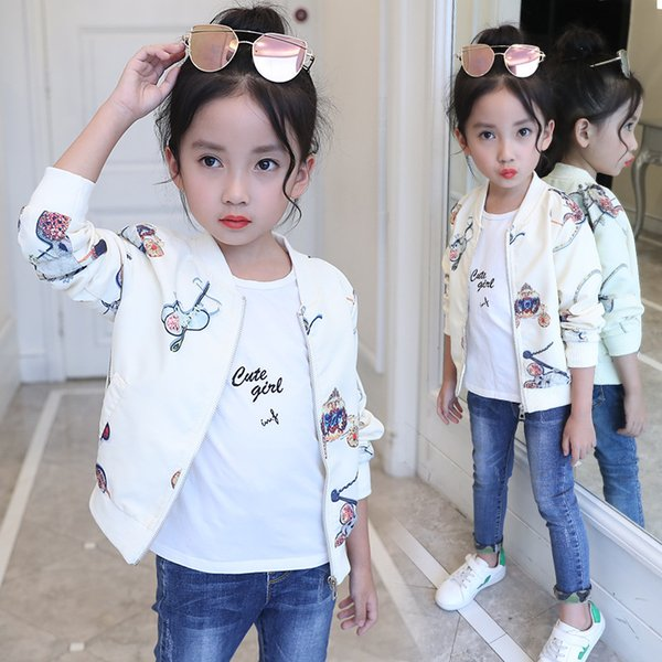 Children Casual Jackets for Big Girls Cartoon Print Coats Kids Autumn Outerwear for Baby Costumes Baseball Clothing