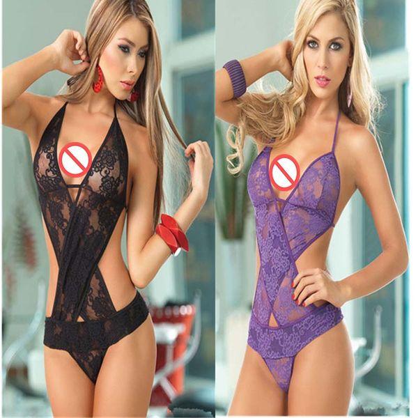 top popular Erotic underwear sexy underwear foreign trade sexy purple underwear three point Siamese hanging neck sexy inside 2021