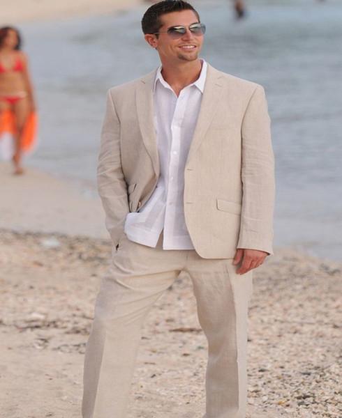 Dernières costumes de lin homme pour l'été costumes sur mesure costume veste vacances 2 pièces smoking lumière Beige costume de mariage veste + pantalon