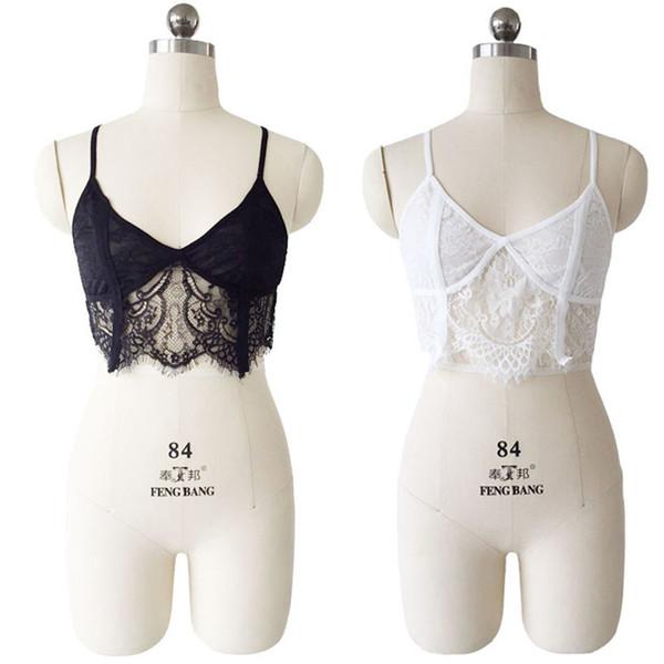 Donne Boho Underwear 2018 Sheer Lace Frenum Strap Lingerie Camis con scollo a V Top Bralette Reggiseno donna Push up Bra Bianco Nero