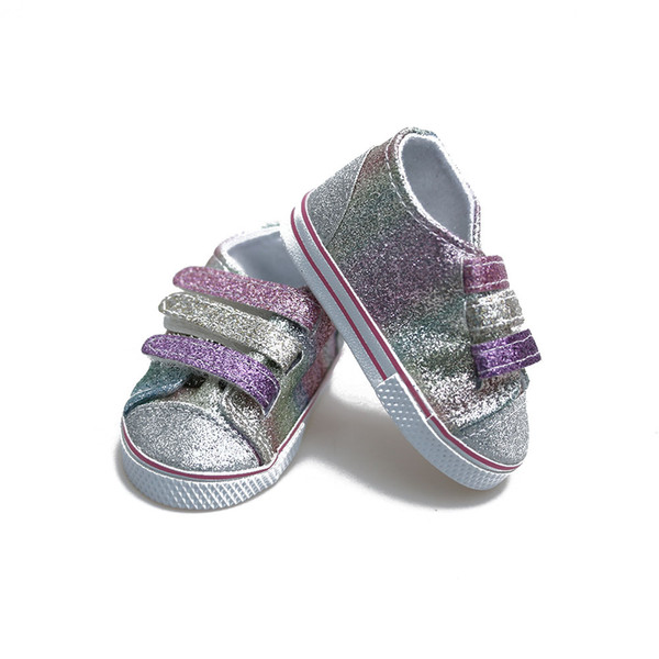 7cm Doll Sequins Shoes Fits 18 inch Doll 43CM Zapf Baby Born Dolls Shoes for American Girl Accessories
