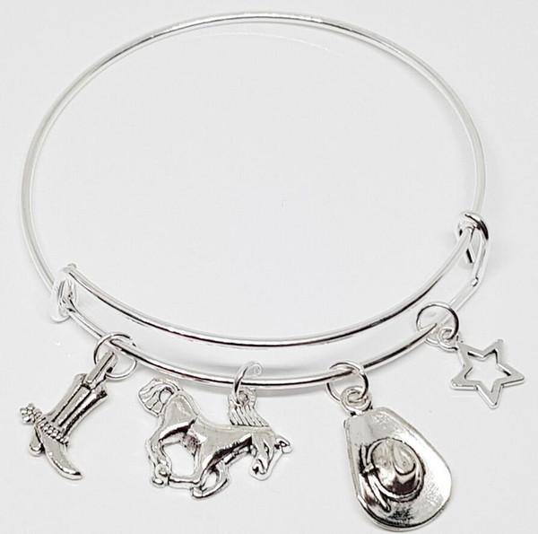 Horse /& Horse Shoes Silver charm Expandable Bangle Bracelet
