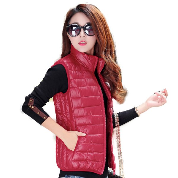 Black vests for womens winter down vests femme quilted slim fit puffer jackets ladies fashion halter neck tops red