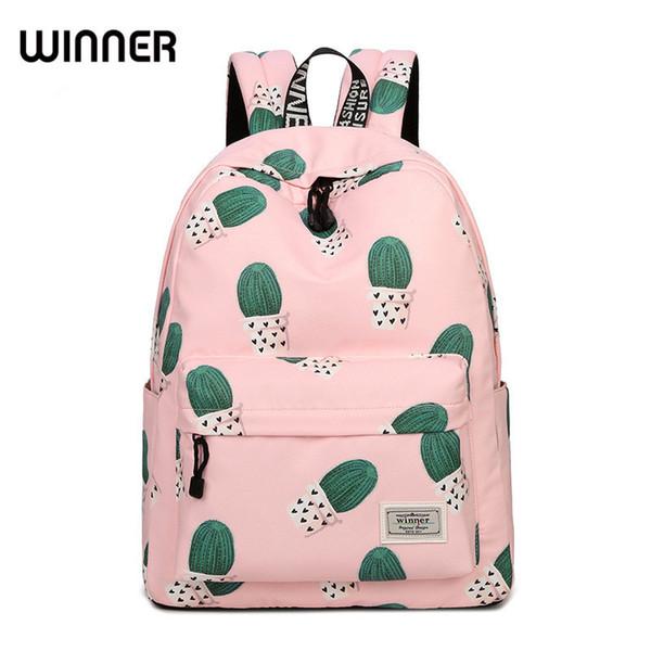 Waterproof Fairy Ball Plant Printing Backpack Women Cactus Bookbag Cute School Bag for Teenage Girls Kawaii Pink Knapsack Y18110201