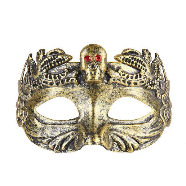 Retro Greco Roman Mens Mask for Mardi Gras Gladiator masquerade Halloween Vintage half face Mask Carnival 3D carved jazz gentleman Masks