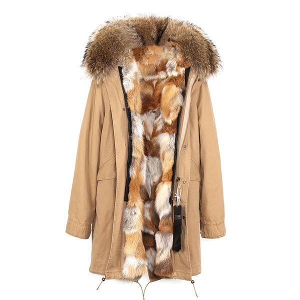 2018 Jazzevar brown raccoon fur trim women fur jacket Mysterious fox fur lining khaki long parkas female cold coats