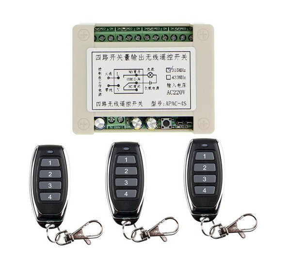 AC 220V 10A Relay 4CH 4 CH Wireless RF Remote Control Switch Transmitter Receiver 433 MHz