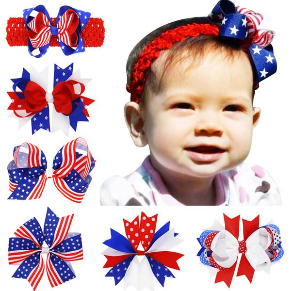 Bandiera americana stampata Barrettes Bow Clip di capelli forcine forcine Fiocco di capelli con clip bambini Accessori per capelli 4 luglio bambino fasce C4074