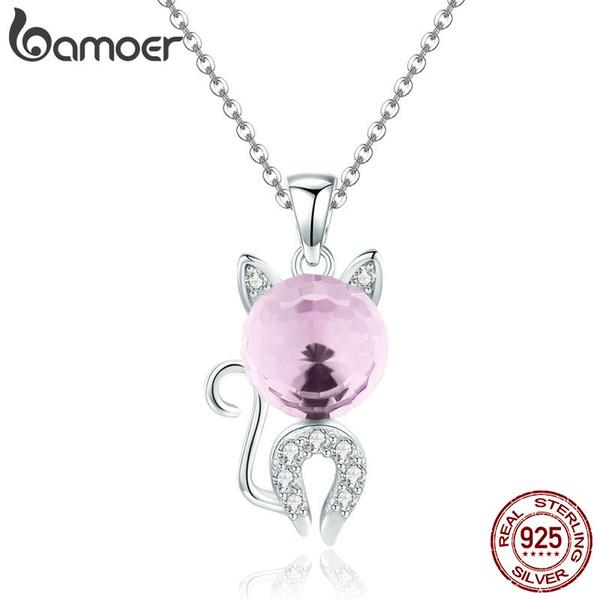 Moda 925 Ayar Gümüş Güzel Kedi Pembe Kristal CZ Kitten Kadınlar için Kolye Kolye Gümüş Takı Hediye