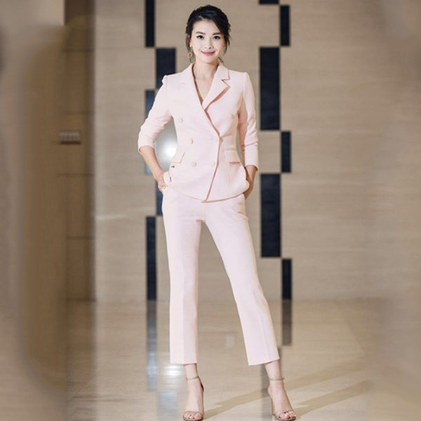 Hot Selling Popular Workwear Women Pants Suits Double Breasted Blazers Slim Pants Celebrity Bodycon Pink Twin Set Outfit
