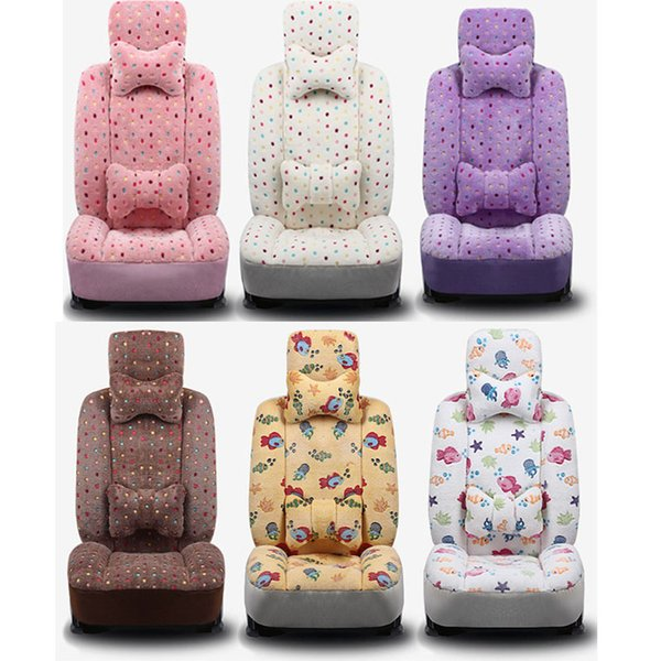 Warm Plush Car Seat Covers Quality Baby Cute Auto Seat Cushion Universal Fit Sedan Front Rear Seat Protector Full Set