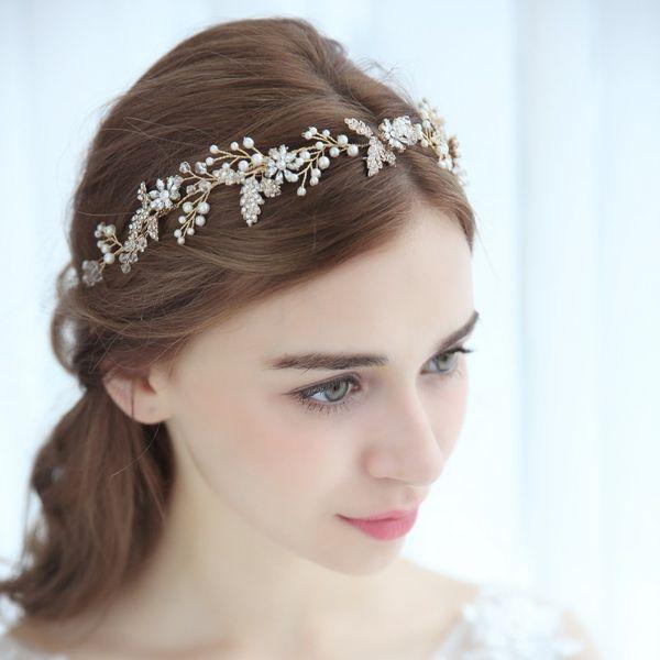 2018 Crystal Flower Wedding Headband Tiara Hair Crown Gold Leaf Women Headpiece Pearls Jewelry Bridal Hair Accessories