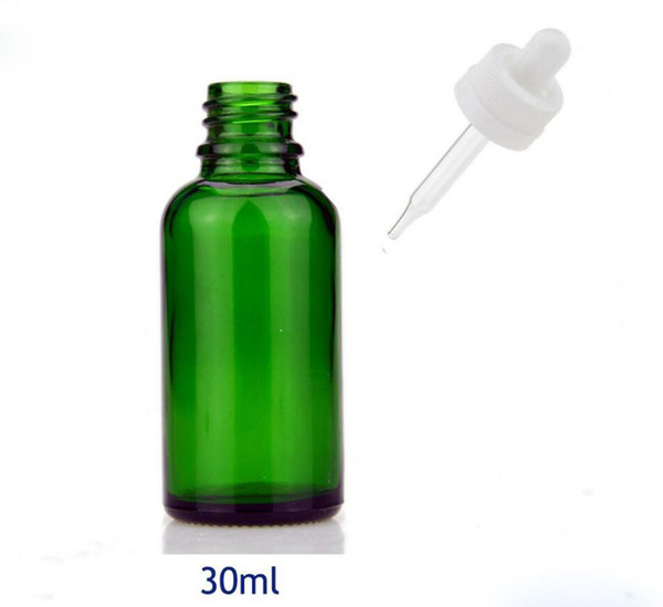 Most Popular 30ml E-Liquid Bottle 1OZ Essential Oil Green Glass Dropper Bottles With Black White Childproof Cap Glass Bottle