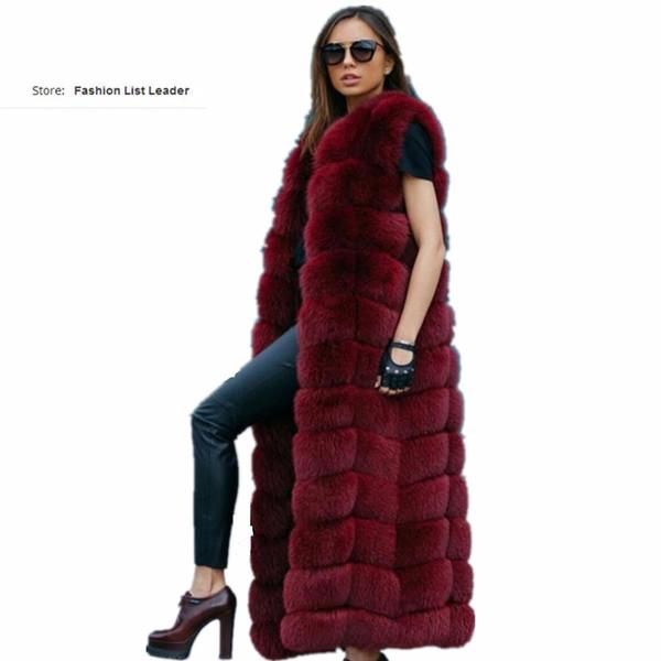 10steps 120cm Super Long Fur Vest Winter Women Luxury Faux Fox Fur Vest Furry Slim Woman Fake Plus Size Faux wj1342
