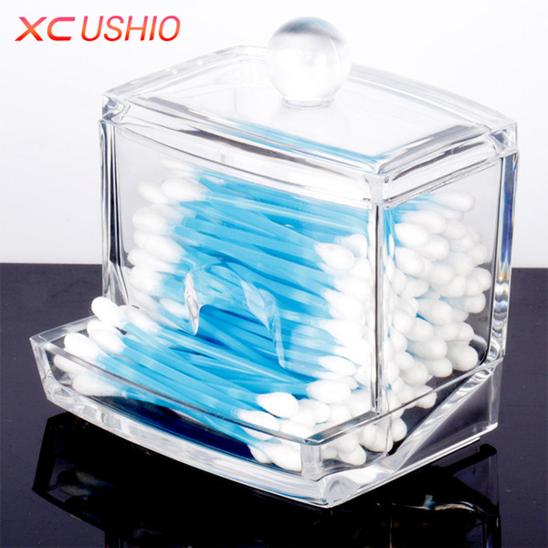 XC USHIO Cosmetic Storage Box Makeup Organizer Box Portable Clear Acrylic Cotton Swab Q-tip Storage Makeup Holder Container