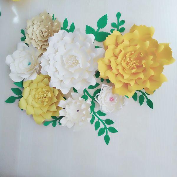 Giant Paper Flowers 7PCS + Leaves 11PCS Wedding Backdrop Photography Bridal Shower Centerpiece Photo Shoots Archway Decor
