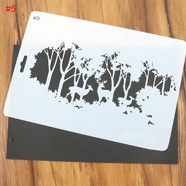 10pcs/set DIY Christmas Tree and Deer Pattern Painting Template Bullet Journal Stencil Set Embossing Paper Scrapbooking DIY Cards