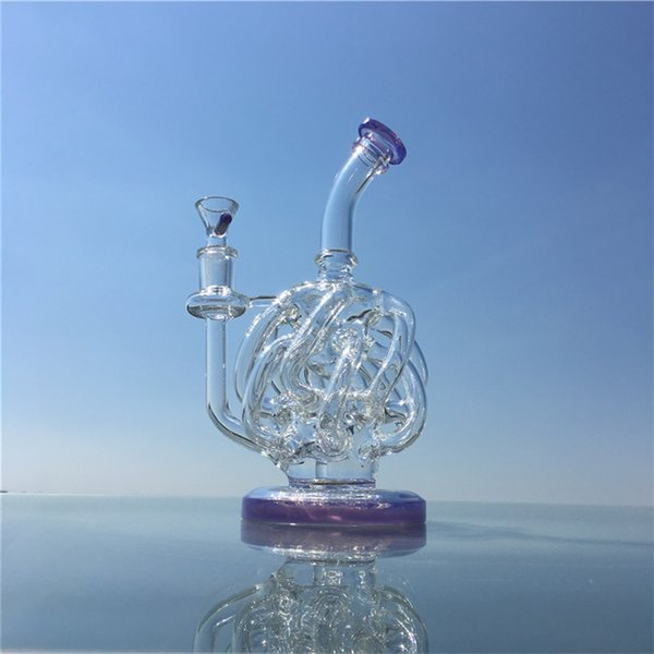 22cm Height Small Dab Rigs Vortex Recycler Wax Bong Super Cyclone Oil Rig Glass Water Pipes With 14mm Quartz Banger For Wholesale