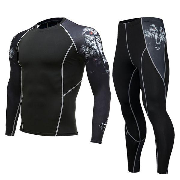 Men's Bodybuilding Compression sets Jogger Clothes Fitness Suits Long t shirt+Pants Gyms Basic layer Tights clothing 2pcs/Sets