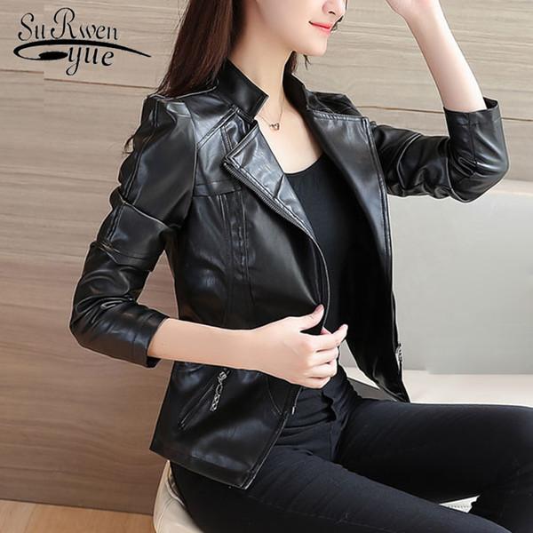 cappotto di usura di autunno cappotto femminile moda PU donne giacca a maniche lunghe 2018 donne cappotto sottile giacca di pelle nera alla moda 0978 30
