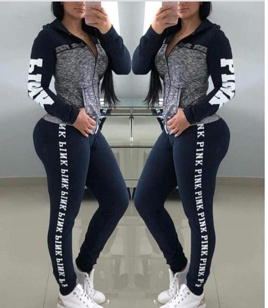 8a29f65d31a4 PINK Large Size Women Sport Wear Stand Collar Tracksuits Sexy Women Casual  Suit Zipper Pullover With