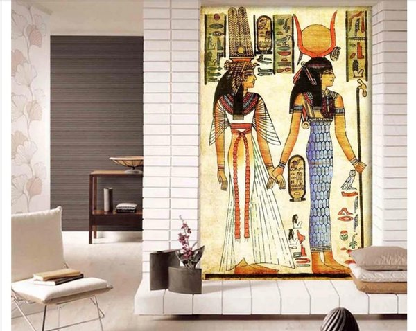 Acheter Gros Peintures Murales 3d Papiers Peints Décor à La Maison Photo Fond D écran Antique Egypte Egypte Pharaon Peinture à L Huile Classique