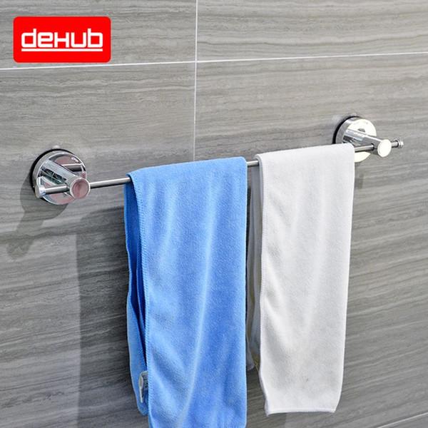 Dehub Ventosa Acciaio inox Bar asciugamano 53 centimetri singolo asciugamano bar Bagno Mensola Accessori bagno Semplice supporto in bianco