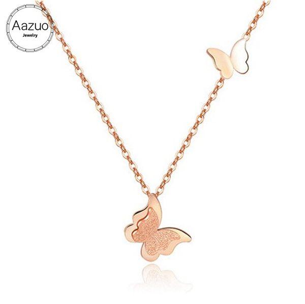 Aazuo Ninguno Piedras 100% 18 K Oro Blanco Rose Gold Butterfly Gargantilla Colgante Collar dotado para Mujeres Cadena de Eslabones de Boda Au750