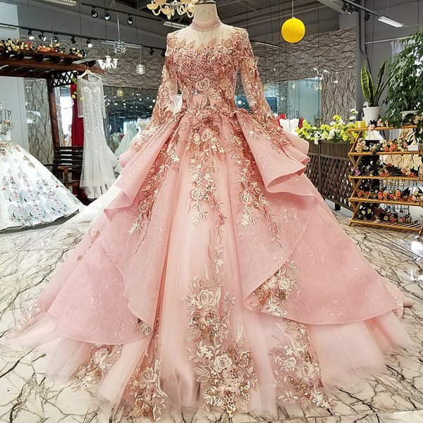 Pink Special Dubai Puffy Party Dresses High Neck Long Sleeve Lace Up Back Lace Evening Dresses Muslim Dinner Prom Dress 2019 Newest Design