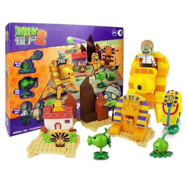top popular Plants vs Zombies Building Blocks Shooting Toys The Mystical Egypt Large Scene 419Pcs 2020