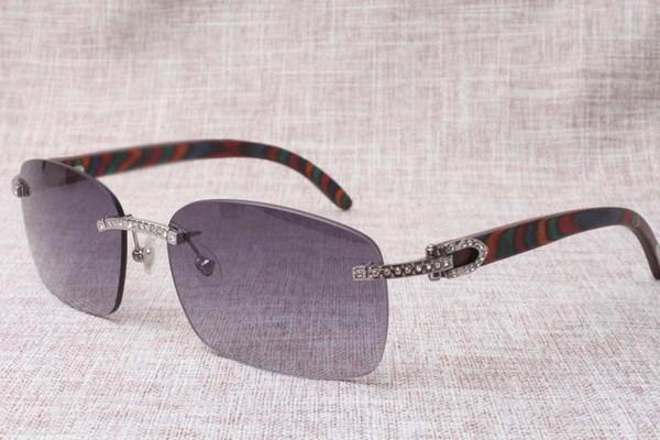 2018 de alta qualidade padrão de pavão cor óculos de sol sem moldura, 8200759 único designer de diamante, modelo de ouro moda templo de madeira óculos de sol