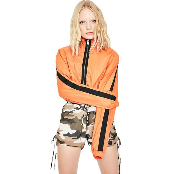 Orange Panel Collar Striped Sleeve Casual Bomber Jacket Women Zip Up Long Sleeve Crop Top Coats Women Short Slim Jacket