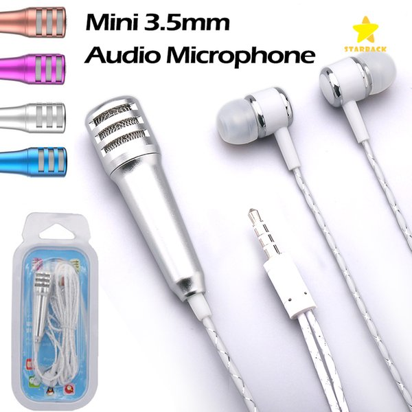 3.5mm MINI Microphone with Earphone Portable Stereo Condenser Mic for Singing Karaoke PC Ipad Smartphone with Retail Package