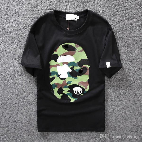 Men's Clothing Wear Tide Brand Camo Printing Men Women Lovers Fund Round Neck Short Sleeve T shirt