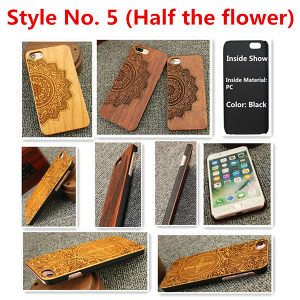 Style No. 5 (Half the flower) Real Genuine Natural Wood Wooden Bamboo Protective Back Cover Cases for iPhone X 8 7 6S 6 Plus 5 5S SE Inside