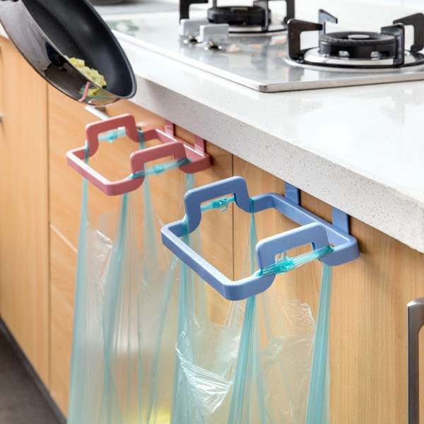 Kitchen Door Back Hanging Style Cabinet Stand Trash Garbage Bags Support Holder