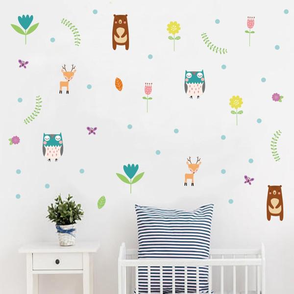 Woodland Bear Deer DIY Wall Decals For Kids Room Jungle Friend Animals Vinyl Wall Sticker Nursery Art Baby Room Home Decor