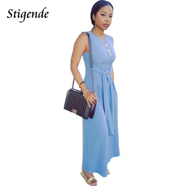 Stigende Summer Wide Leg Jumpsuit Women Casual Overalls Sleeveless Jumpsuit Elegant Loose Plain Color O Neck Belt Tank