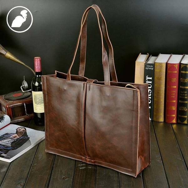 ETONWEAG Marcas Bolsas de Grife de Alta Qualidade Marrom Bolsas De Couro Do Vintage Sacos de Mulheres Mensageiro Laptop Tote Bag Big Shopping Bag