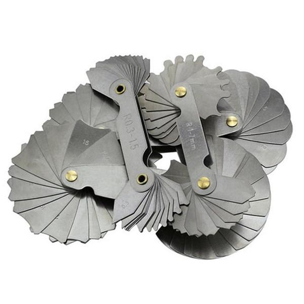 top popular Freeshipping 4Pcs lot Radius Gauges R0.3-1.5 R1-7 R7.5-15 R15.5-25 Stainless Steel Concave Convex arc Measuring Tools 2021