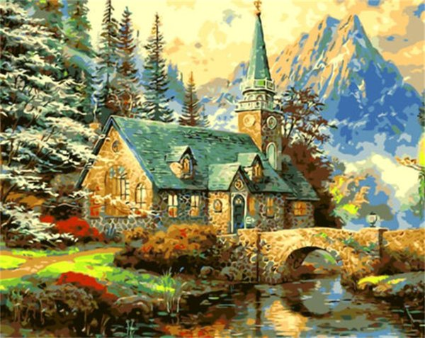 16x20 inches House Near Mountain Scenery DIY Paint On Canvas drawing By Numbers Kits Art Acrylic Oil Painting Frame For Adult Teen
