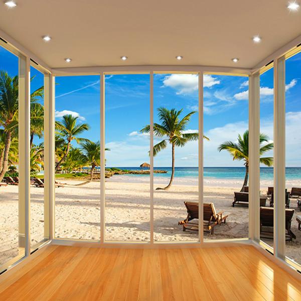 Toptan-Son Dışında Pencere Ege Denizi Balkon Peyzaj 3D Arka Plan Duvar resmi Fotoğraf Kağıdı Tema Otel Oturma Odası Fresk