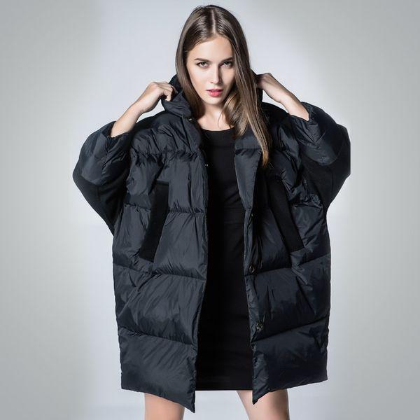 New brand women down jacket women's winter coats 90% white duck down super warm navy blue & white loose long parka
