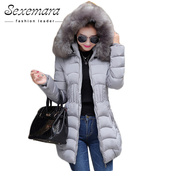 Sale 4XL Fur Hooded Female Winter Down Jacket Cotton Slim Overcoat Elegant Casual Long Sleeve Women Coat Parka Big Plus Size S18101203