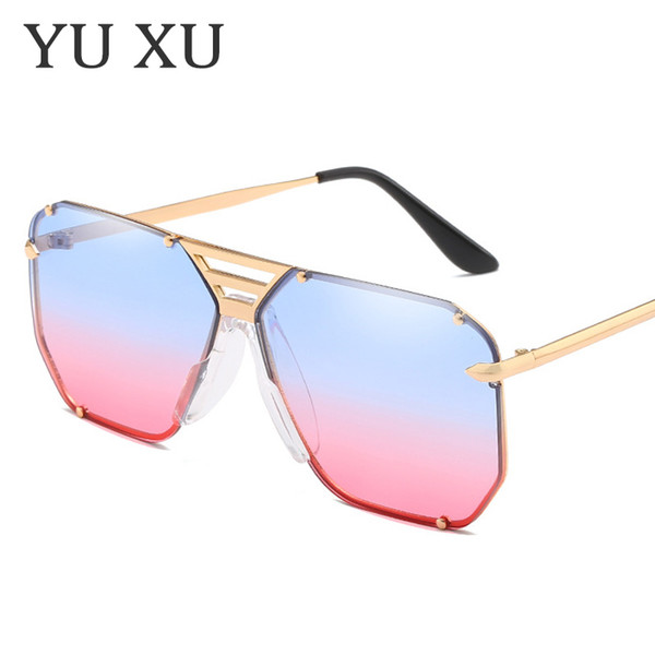 yu xu women three beams rivets decorative sunglasses men arrow decoration square sunglasses new fashion metal sunglasses h123
