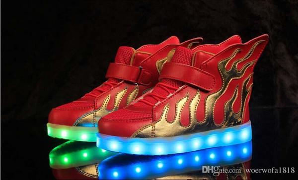 NEW style kinder USB lade LED licht schuhe kinder Nachtclub tanzschuhe jungen und mädchen turnschuhe mode Flamme schuhe casual sh