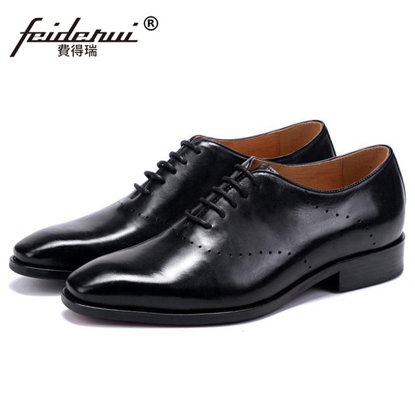 Italian Style Man Formal Dress Brogue Shoes Genuine Leather Handmade Wedding Party Oxfords Summer Breathable Men Footwear SS350