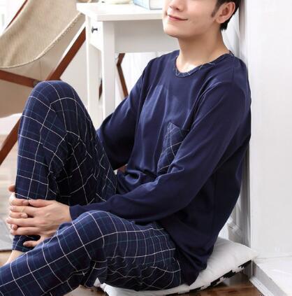 Long Sleeve Pijama Cotton Pajamas Sets for Male Big Size Sleep Clothing Casual Nightie Sleepwear Men Pyjamas Suit Autumn