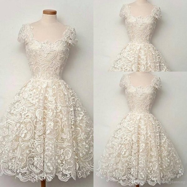 2018 Luxury A-Line Lace Wedding Dresses Formal Square Off Shoulder Ruched Applique Custom Made Beach Vintage Events Women Bridal Gowns