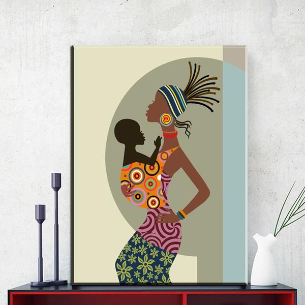 Moderne Abstrakte Leinwand Kunst Schöne Afrikanische Frau Mit Baby Leinwand  Bilder ölkunstmalerei Für Wohnzimmer Schlafzimmer Dekor